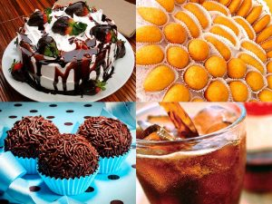 Kits Festa com bolo, docinhos e/ou salgadinhos, refrigerante e vela e descartáveis.